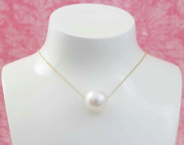 10K Solid gold Extra Large White Freshwater Pearl Pendant and Chain