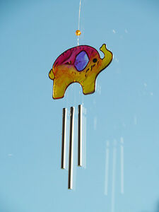 Fair-Trade-Colourful-Orange-Elephant-Sun-Catcher-Wind-Chime