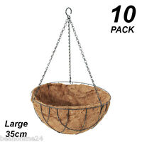10 Pack X Large 35cm Hanging Baskets Garden Planters With Liner & Hang Chain
