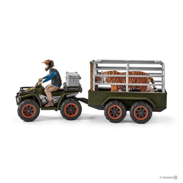 Wild Life figura di plastica Schleich 42351 Moto Quad Con Rimorchio RANGER /& Tiger
