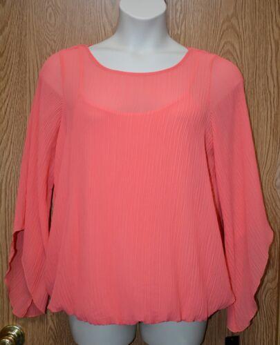 Womens Coral Pleated Alfani Long Flare Sleeve Shirt Size 2X NWT NEW