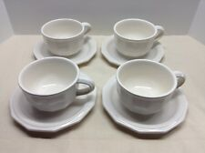 4 Pfaltzgraff Set of White Heritage Stoneware Cups and Saucers