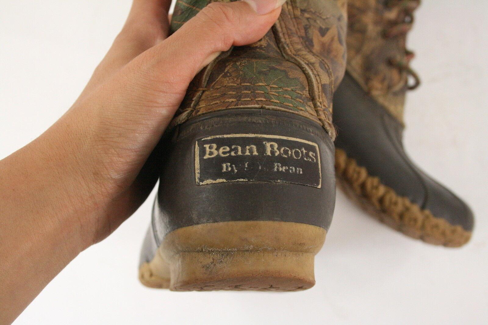 LL Bean Womens Vintage Camo Duck Boots 8Eye Hunting Camouflage Camouflage Camouflage Leaves Sz 7N RARE 018084