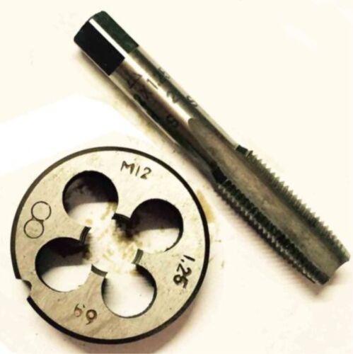 1 Pcs HSS Machine M12X0.5mm Plug Tap and 1pc M12 X 0.5mm Die Threading Tool