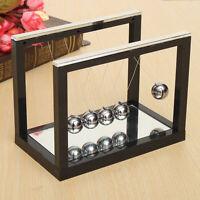 Newton's Cradle Steel Balance Ball Physics Science Pendulum Desk Mirror Black Us