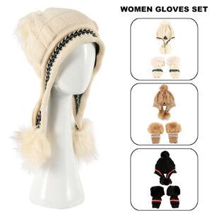 Fashion-Femmes-Hiver-Beanie-Chapeau-Gants-ensemble-chaud-tricot-Laine-POM-POM-Chapeau-Bonnet-Gants