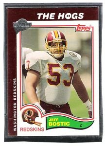 4-THE-HOGS-FOOTBALL-CARDS-RUSS-GRIMM-JOE-JACOBY-MARK-MAY-JEFF-BOSTIC