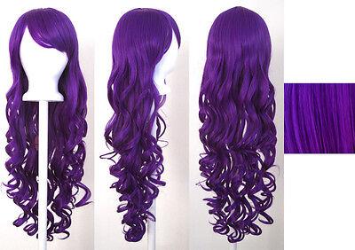 29'' Long Curly w/ Long Bangs Indigo Purple Cosplay Wig