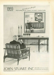 Image Is Loading 1958 John Stuart Inc PRINT AD Furniture Chair