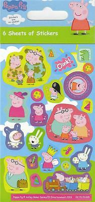 Peppa Pig Sticker Sheets x 6 Party Pack - Party Loot Bag Filler