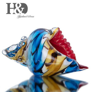 Hand-Blown-Glass-Art-Style-Sea-Shell-Figurine-Conch-Sculpture-Ocean-Paperweight