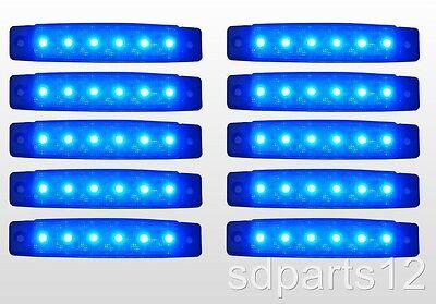 10 x 24V,24 Volts BLEU 6 LED FEUX DE GABARIT CAMION CARAVANE CHASSIS REMORQUES