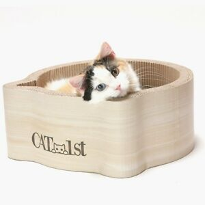 Cat scratcher bed round cardboard kitty scratching pet toy furniture kitten cozy ebay - Cat bed scratcher ...