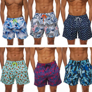 Men-039-s-Beach-Board-Shorts-Swimming-Surfing-Trunks-with-Pockets-Lined-Cool-Floral