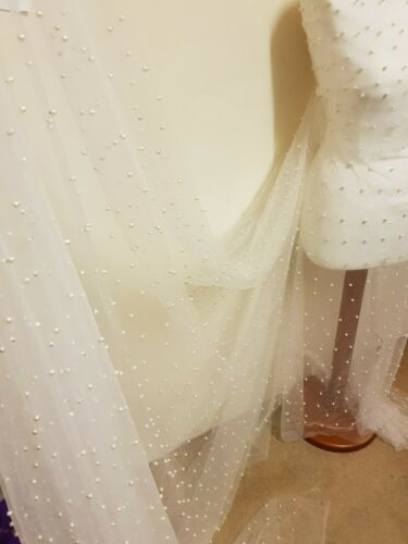 """5  meter BRIDAL  IVORY PEARL   BEADED    TULLE LACE BRIDAL FABRIC 58/"""" WIDE"""