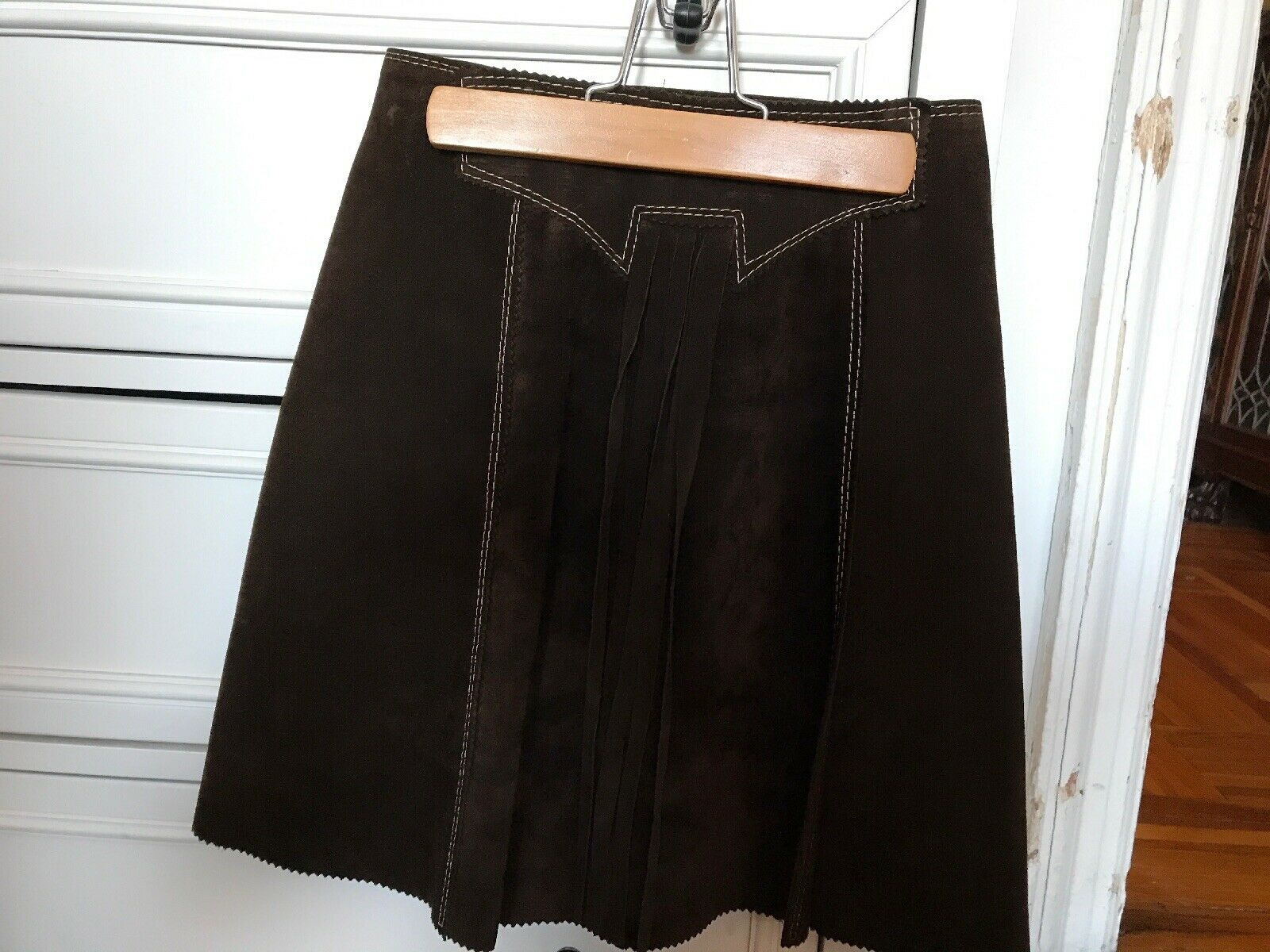 Ladies 100% Brown Suede Wrap Around Skirt Size XS