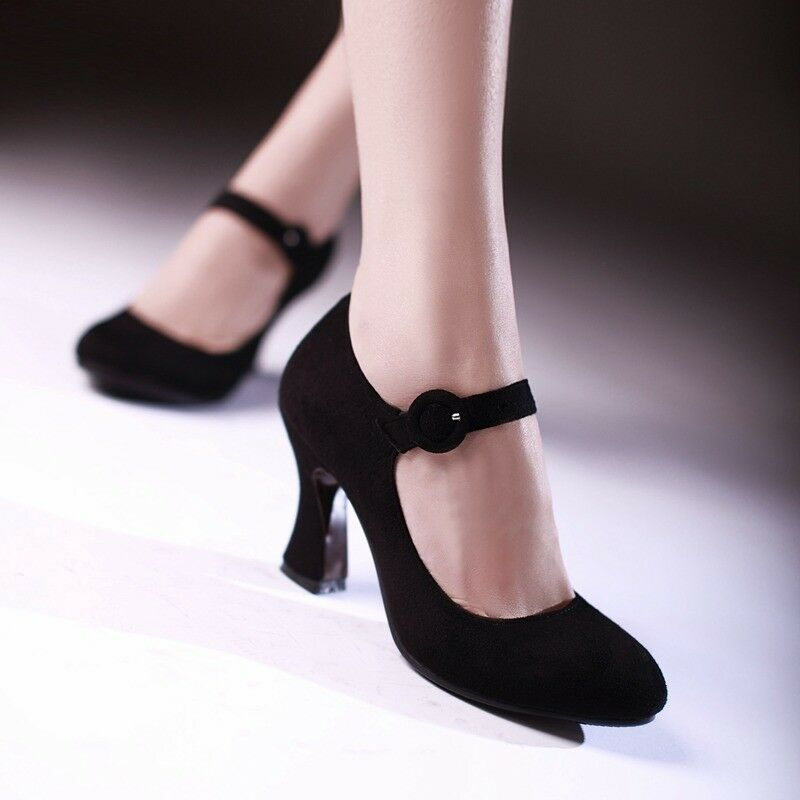 Ladies Round Toes shoes Faux Suede High Heels Heels Heels Ankle Strap Pumps US Size S036 21507d