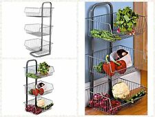 3 Tier Metal Vegetable Fruit Storage Rack Stand Basket Kitchen Pantry Shelf New