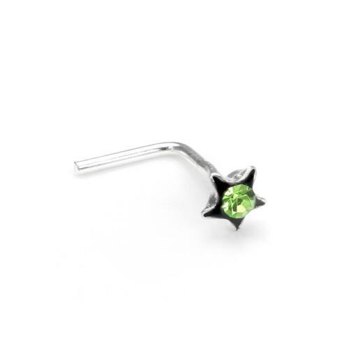 Sterling-Silber 3mm Kristall Blume L-Form Nasensteckererhältlich in mehreren