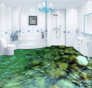 Clear Water Stream Stone Floor Decals 3d Wallpaper Wall Mural Stickers Print Ebay