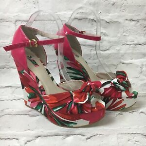 NEW-Next-Floral-Wedges-Sandals-Red-Pink-Wedding-Autumn-Party-Holiday-Bow-Size-8
