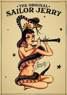 Sailor Jerry Girl with guitar framed 8X12 canvas print graffiti reproduction