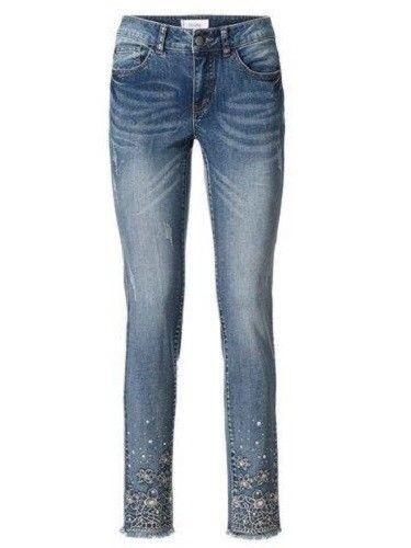 36-52 Jeans con strass pantaloni Linea Tesini jeans a sigaretta MIS