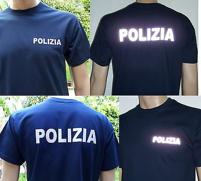 POLIZIA T-Shirt in marineblau, Text in 2 Farb-Varianten, Größe S bis XXL