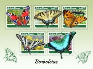 Guinea-Bissau - 2018 Butterflies on Stamps - 5 Stamp Sheet - GB18302a