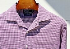 Polo Ralph Lauren XL Gentleman's Violet Gingham Check Cotton 'Marselle' LS Shirt