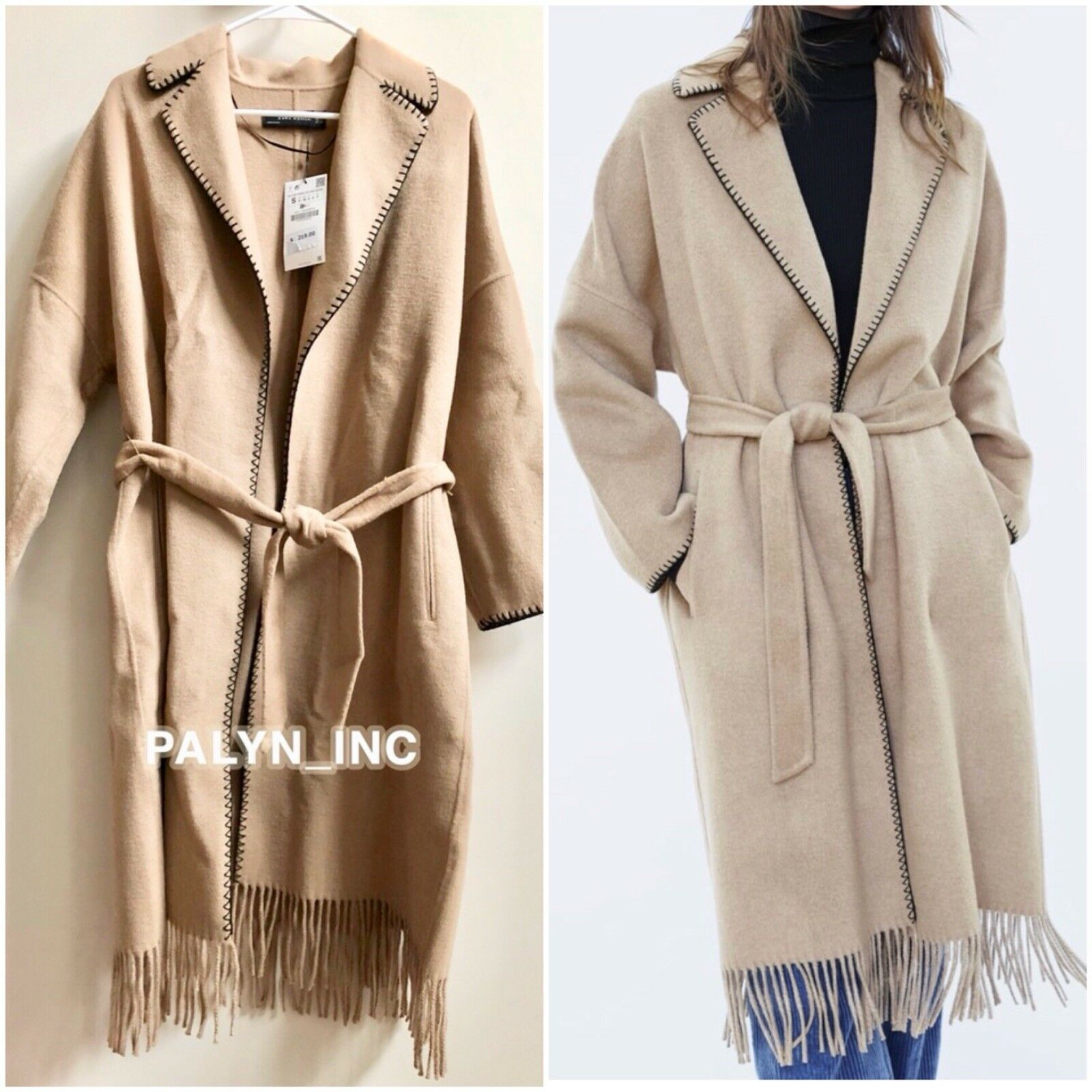 NWT  219 ZARA AW18 CAMEL BELTED DOUBLE-BREASTED COAT WITH FRINGES 7522 259_S M