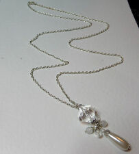 "LONG IVORY WHITE PEARL & CLEAR SILVER PLATED PENDANT NECKLACE 32"" 80 cm PC"