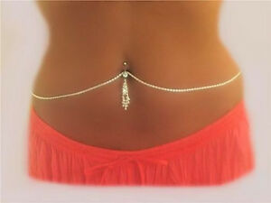 .Sterling Interchangable Belly Chain 4 own Navel Bar Just Change Wear All Day