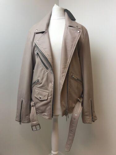 xs allsaints £420 uk8 Pink Leather Season Jacket Oversized washed Biker Current 5nAT8YqR8x