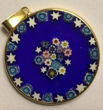 Vintage 24mm Millefiori Murano Glass Pendant Blue With Stars