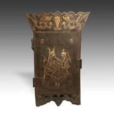 ANTIQUE SHRINE PORTABLE CITIPATI MOTIF PAINTED IRON NEPAL TIBET BUDDHISM 19TH C.