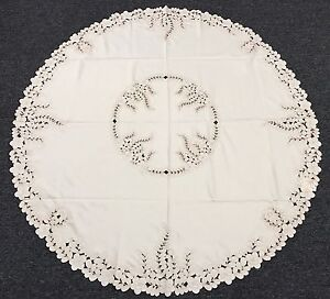 """Elegantlinen Embroidered Cutwork Peacock Embroidery Tablecloth Napkin 72"""" Round"""