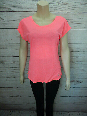 Ladies Sports Top Size 8 Neon Striped Short Sleeved Active Dry Wik T-shirt