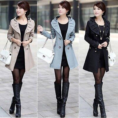 Hot!Women's Lace Hooded Slim Fit Double Breasted Long Coat Outwear Jacket