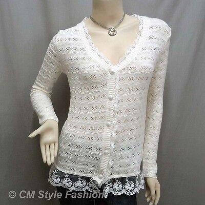 * Crochet Eyelet Lace Trimmed Button Down Knit Cardigan Blouse Top Beige M