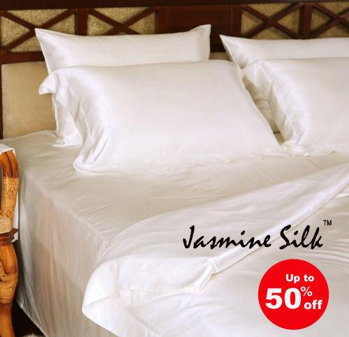 Jasmine Silk 4 Stk. 100% Charmeuse Seide Bettbezug Set (Creme) -könig | Angenehmes Gefühl