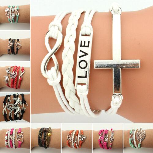 Women Retro BOHO Suede Leather Valentine/'s Day Gift layers Bracelet Wrist Chain