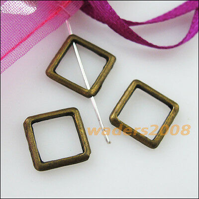 15 New Charms Square Circle Spacer Frame Beads 12mm Antiqued Bronze