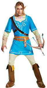 Details About Legend Of Zelda Link Breath Of The Wild Deluxe Adult Costume Tunic Fancy Dress