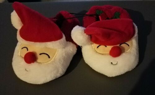Infant Unisex Christmas House Slippers Santa or Reindeer Size 3 4 5 6