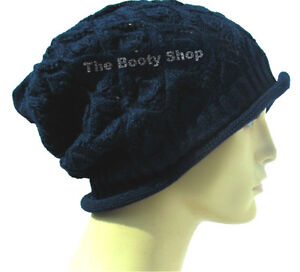 Slouch-Baggy-Beanie-Hat-Thin-Warm-Navy-Winter-Knit-Knitted-Mens-Ladies