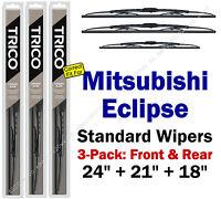 Wiper Blades 3pk Front Rear Standard - Fit 2000 Mitsubishi Eclipse 30240/210/180