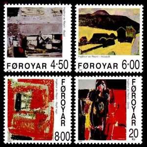 Faroe-Islands-1999-Paintings-Village-Girl-Husavik-Red-Rain-UNM-MNH