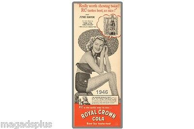 RC Cola  Soda 1946 Ad June Haver  Refrigerator Tool Box Magnet