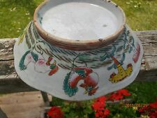 "Antique 19th c Chinese Famille Rose Bowl 8"" Chickens Footed Scalloped Rooster"
